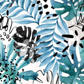 aztec watercolour palm leaf aqua blue drops