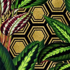 Palm on Polygon Black Gold