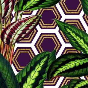 Palm on Polygon White Purple Gold