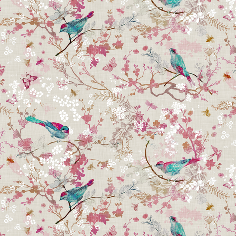 Bird + the Bees (Rose) SMALL fabric by nouveau_bohemian on Spoonflower - custom fabric