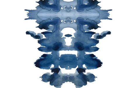 Single XL Indigo Ink Blot  fabric by danika_herrick on Spoonflower - custom fabric