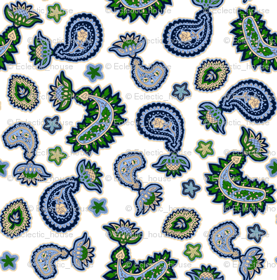 Green and Blue Paisley on White