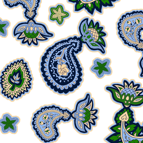 Green and Blue Paisley on White fabric by eclectic_house on Spoonflower - custom fabric