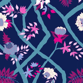 Small Scale Peony Branch Mural-Navy Magenta and Teal