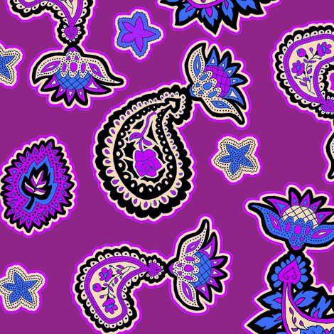 Purple and Blue Paisley fabric by eclectic_house on Spoonflower - custom fabric