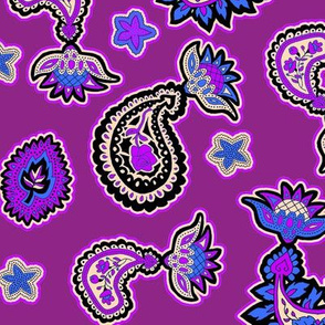 Purple and Blue Paisley