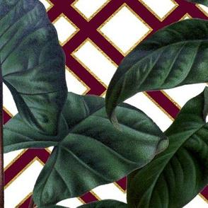 Palm on Woven Lattice White Burgundy Gold
