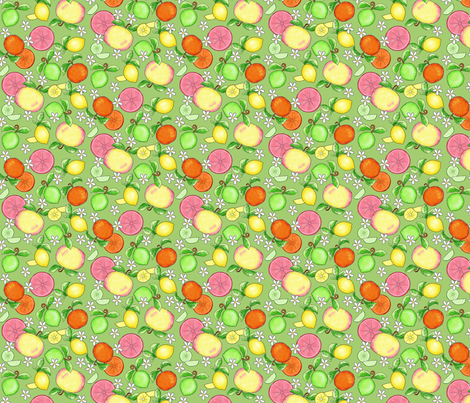 Citrus Fruit Green Small fabric by phyllisdobbs on Spoonflower - custom fabric