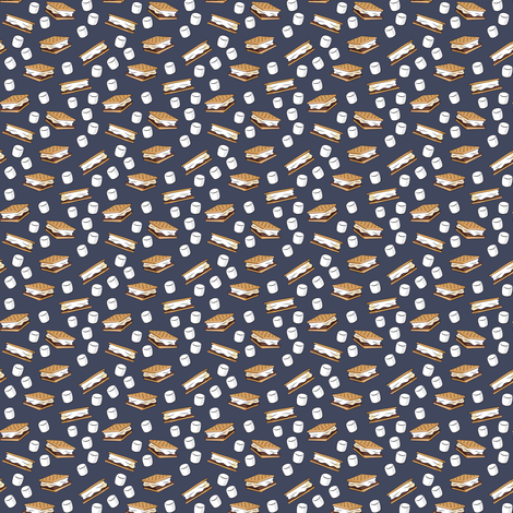 (micro print) s'mores and marshmallows on adventure blue fabric by littlearrowdesign on Spoonflower - custom fabric