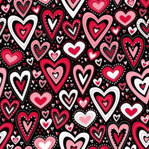 Lovely Hearts (Red and Black)