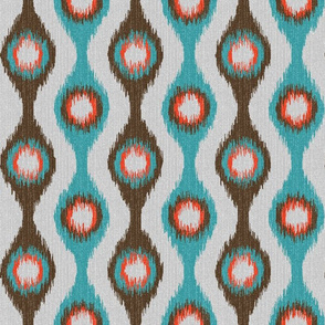 Ikat Stringed Beads Teal Brown Orange Grey