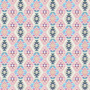 Tiny Scale Woven Textured Pastel Kilim - cool cream