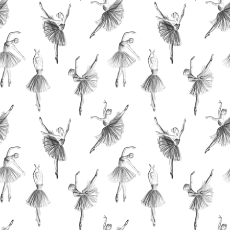 Pencil drawing of ballerinas on white (small  scale) fabric by svetlana_prikhnenko on Spoonflower - custom fabric