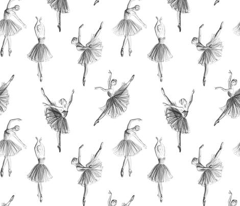 Ballerinas drawing on white (big scale) fabric by svetlana_prikhnenko on Spoonflower - custom fabric