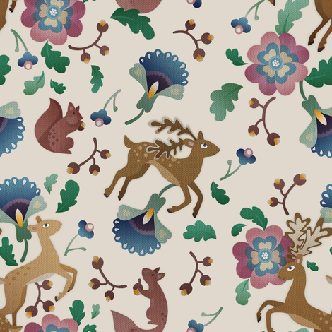 Deer Floral Version 2 Light fabric by thimblefolio on Spoonflower - custom fabric