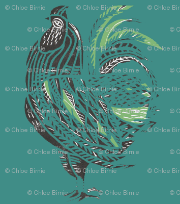teal rooster