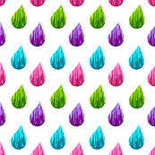 raindrops multicolored // pink // purple // turquoise // green //