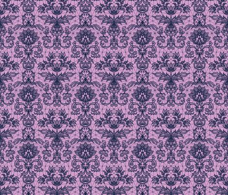 navy blue lace on pink fabric by svetlana_prikhnenko on Spoonflower - custom fabric