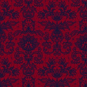 navy lace on red