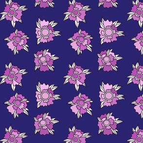queens floral  navy purple flowers