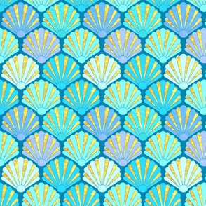 1920s Art Deco Shell Fans in blue, teal, turquoise & gold fit for a mermaid!