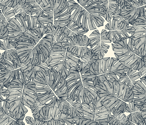 monstera leaves pearl fabric by scrummy on Spoonflower - custom fabric
