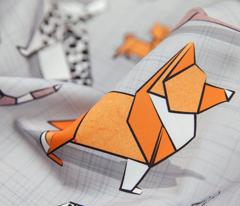 Origami doggie friends // normal scale // grey linen texture background paper dogs