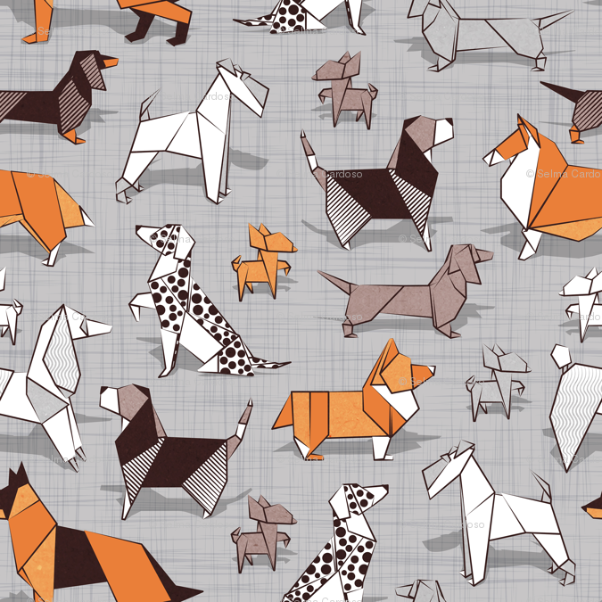 531064190fc0 Origami doggie friends    normal scale    grey linen texture background  paper dogs wallpaper - selmacardoso - Spoonflower
