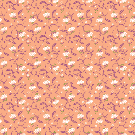Timeless B - Bud Scroll, Peach fabric by malibu_creative on Spoonflower - custom fabric