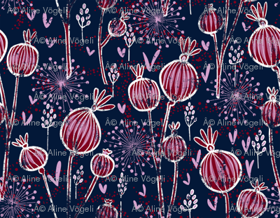 orchid and navy shabby batik flower meadow