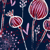 orchid and navy shabby batic flower meadow