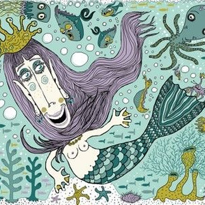 quirky mermaid with sea friends, large scale