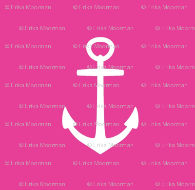 Anchors- MED 184 hot pink white anchor