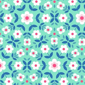 Retro Flowers Mandala - Mint and Pink