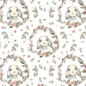 """4"""" Pink Bunny with Bow and Free Falling Flowers"""