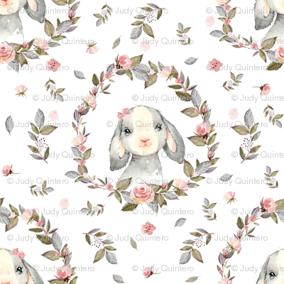 """8"""" Pink Bunny with Bow and Free Falling Flowers"""