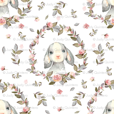 """1.5"""" Pink Bunny with Free Falling Flowers"""
