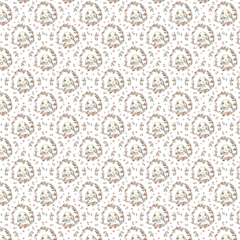 """1.5"""" Pink Bunny with Free Falling Flowers fabric by shopcabin on Spoonflower - custom fabric"""