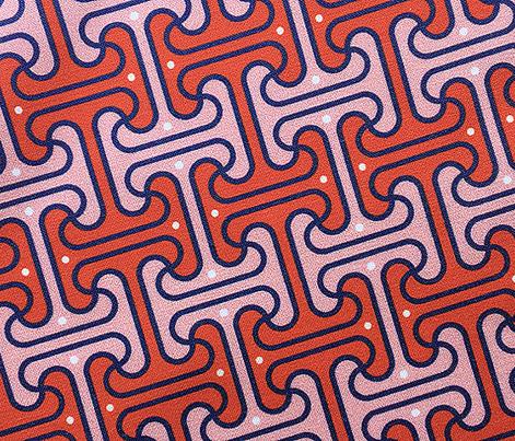 Secret Passage* (Tomato Soup)    Egypt Egyptian geometric meander interlocking polka dots optical illusion