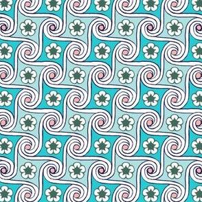 Scrolls & Flowers* (Polymer)    flower floral Egypt Egyptian waves