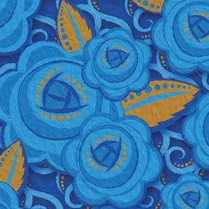Roses Blue & Gold - 1