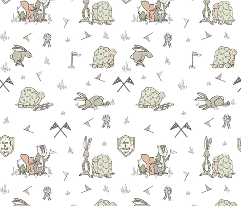 Tortoise And Hare fabric by sweetmelodydesigns on Spoonflower - custom fabric