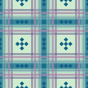 preppy plaid in blue and mint green