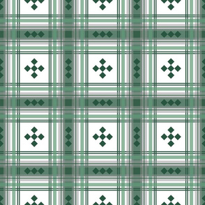 Preppy plaid in green, gray and white