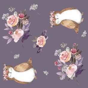 "8"" Owl & Florals / Lilac / 90 degrees"