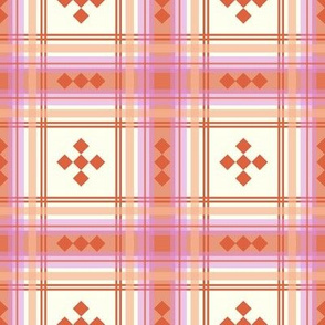 preppy plaid in peach, yellow, orange and pink