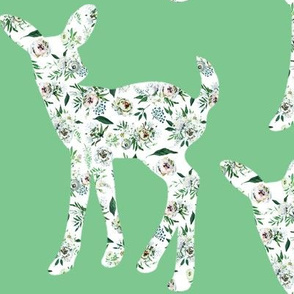 "Green Painted Floral Fawn repeat Sage 6"" wide"