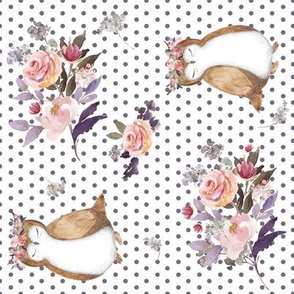 """8"""" Owl & Floral Bouquet / White & Lilac Polka Dots / 90 degrees"""