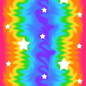Rainbow Tie Dye Wave Stars
