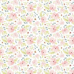 Amelia - Watercolor Floral Pink - Dollhouse Ditsy